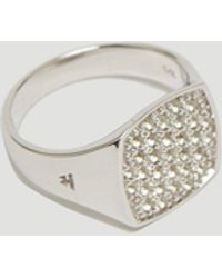 Tom Wood - Mini Cushion White Topaz Signet Ring In Silver - Lyst