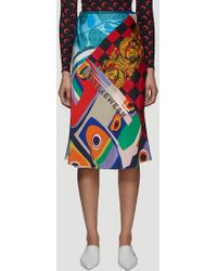 Marine Serre - Patchwork Upcycled Skirt In Blue - Lyst