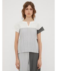 Issey Miyake - Stair Pleats Cut-out Top In Grey - Lyst