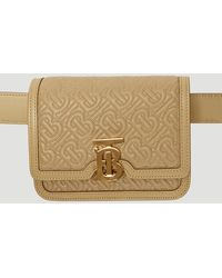 Burberry Quilted Tb Monogram Belt Bag In Beige