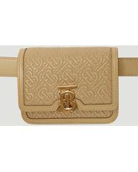 Burberry Quilted Tb Monogram Belt Bag In Beige - Natural