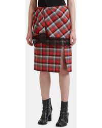 Facetasm - Pleated Checked Lace Trim Skirt In Red - Lyst