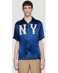 Gucci - Ny Patch Bowling Shirt In Navy - Lyst