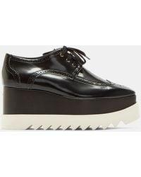 f4e41fe2842 Stella McCartney - Elyse Patent Brogue Platform Shoes In Black - Lyst