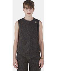 Renli Su - Women's Tweed Asymmetric Wrap Waistcoat Top In Brown - Lyst