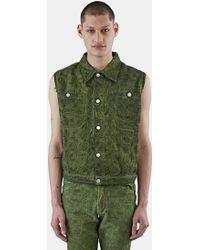 Telfar - Men's Sleeveless Embroidered Denim Vest In Green - Lyst