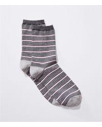LOFT - Mixed Stripe Crew Socks - Lyst
