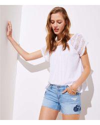 LOFT - Petite Floral Embroidered Denim Cut Off Shorts - Lyst