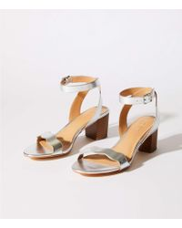 LOFT - Metallic Block Heel Sandals - Lyst