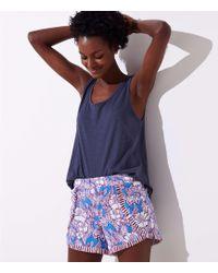 LOFT - Beach Floral Fringe Tulip Shorts - Lyst