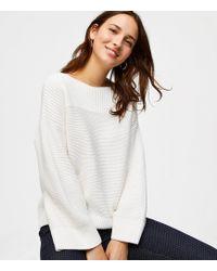 LOFT - Mixed Rib Flare Sleeve Sweater - Lyst