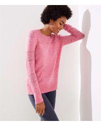 LOFT - Lacy Pointelle Sweater - Lyst
