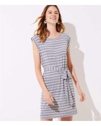 LOFT - Striped Belted Tee Dress - Lyst