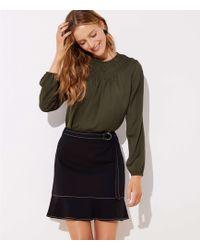 LOFT - Petite Tie Waist Ponte Flippy Skirt - Lyst