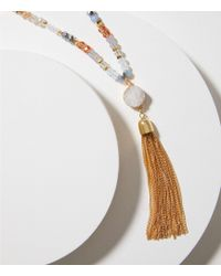 LOFT - Tassel Beaded Necklace - Lyst