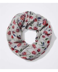 LOFT - Scattered Floral Infinity Scarf - Lyst
