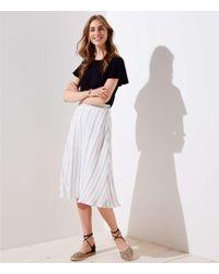 LOFT - Striped Midi Skirt - Lyst