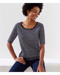 LOFT - Striped Elbow Sleeve Tee - Lyst