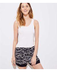 LOFT - Zebra Tie Waist Shorts - Lyst