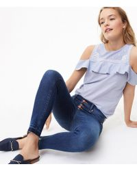 LOFT - Modern Unpicked Button Fly Skinny Jeans In Rich Mid Indigo Wash - Lyst