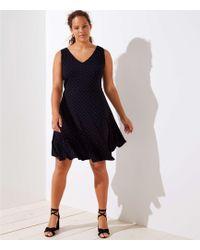 59247b31c0 LOFT - Plus Dotted V-neck Flare Dress - Lyst