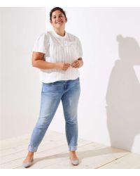 LOFT - Plus Pearlized Trim Flip Cuff Skinny Jeans In Staple Light Indigo Wash - Lyst