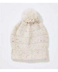 LOFT - Stripe Embellished Faux Fur Pom Pom Hat - Lyst