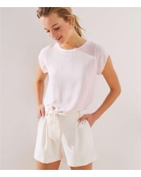 LOFT - Perforated Lacy Mixed Media Top - Lyst
