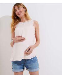 LOFT - Maternity Destructed Roll Cuff Denim Shorts In Light Indigo Wash - Lyst