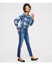 LOFT - Modern Step Hem Skinny Jeans In Ombre Side Stripe - Lyst