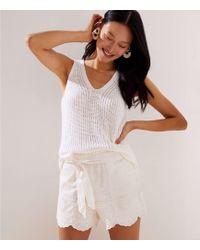 LOFT Crochet Tie Waist Shorts - White