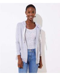 b273d57266 LOFT Petite Hoodie Jacket in White - Lyst