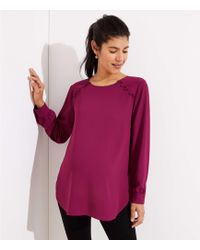 LOFT - Maternity Covered Button Shirttail Blouse - Lyst