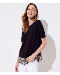 LOFT - Floral Crossover Mixed Media Sweater - Lyst