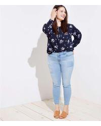 LOFT - Plus Modern Patchwork Skinny Jeans In Light Stonewash - Lyst