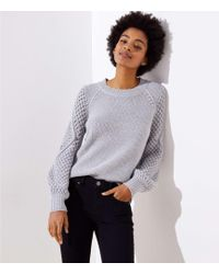 LOFT - Stitched Sleeve Sweater - Lyst