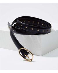 LOFT - Studded Skinny Leather Belt - Lyst