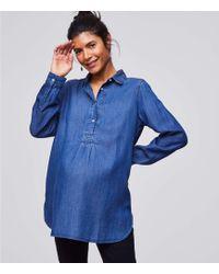 b9d2c59901eaf Loft Petite Floral Mosaic Henley Softened Shirt in Blue - Lyst