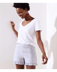 LOFT - Ruffle Shorts With 3 1/2 Inch Inseam - Lyst