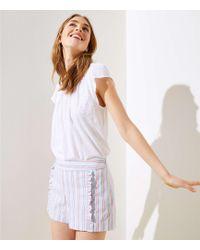 LOFT - Striped Ruffle Shorts - Lyst