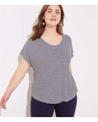 6c6102eddb LOFT Striped Linen Shirttail Tee in Blue - Lyst