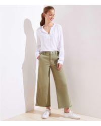 7ac5353900e Lyst - LOFT Petite Wide Leg Crop Jeans In Magnolia Green in Green