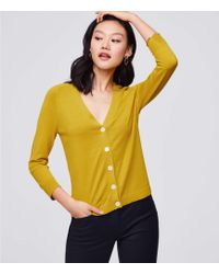 LOFT - 3/4 Sleeve Signature V-neck Cardigan - Lyst