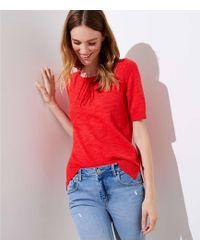 LOFT - Textured Short Sleeve Sweater - Lyst