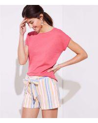 LOFT - Striped Tie Waist Shorts - Lyst