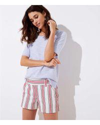 LOFT - Petite Striped Side Zip Shorts - Lyst