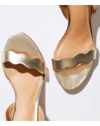 LOFT - Metallic Block Heel Sandals - Lyst