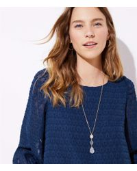 LOFT - Stacked Stone Pendant Necklace - Lyst