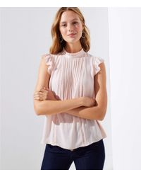 LOFT - Lacy Pintucked Mixed Media Top - Lyst