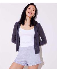 LOFT - Petite Crosshatch Ruffle Shorts - Lyst